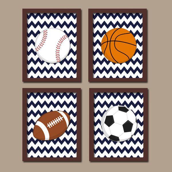 SPORTS Wall Art Boy Artwork Nursery Kid Child Balls Soccer Football Baseball Basketball Chevron Pattern Set of 4 Prints Baby Bedroom Decor by TRMdesign on Etsy https://www.etsy.com/listing/206207182/sports-wall-art-boy-artwork-nursery-kid