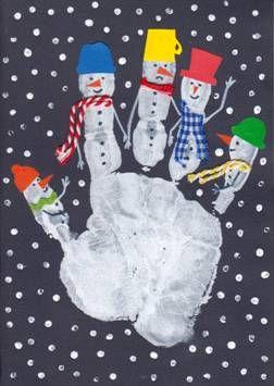 Otisk ruky a sněhuláci