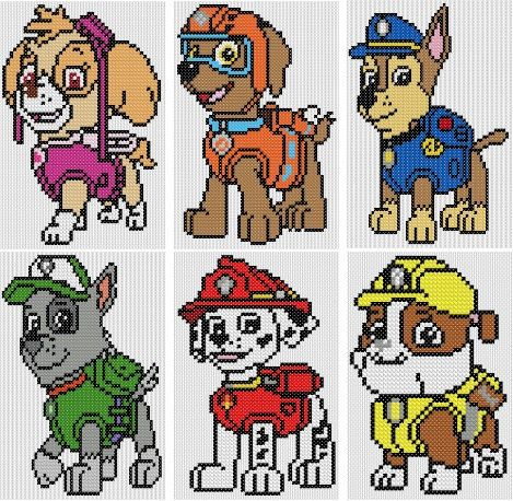 "Paw Patrol Counted Cross Stitch Kits ""All 6 Design…"