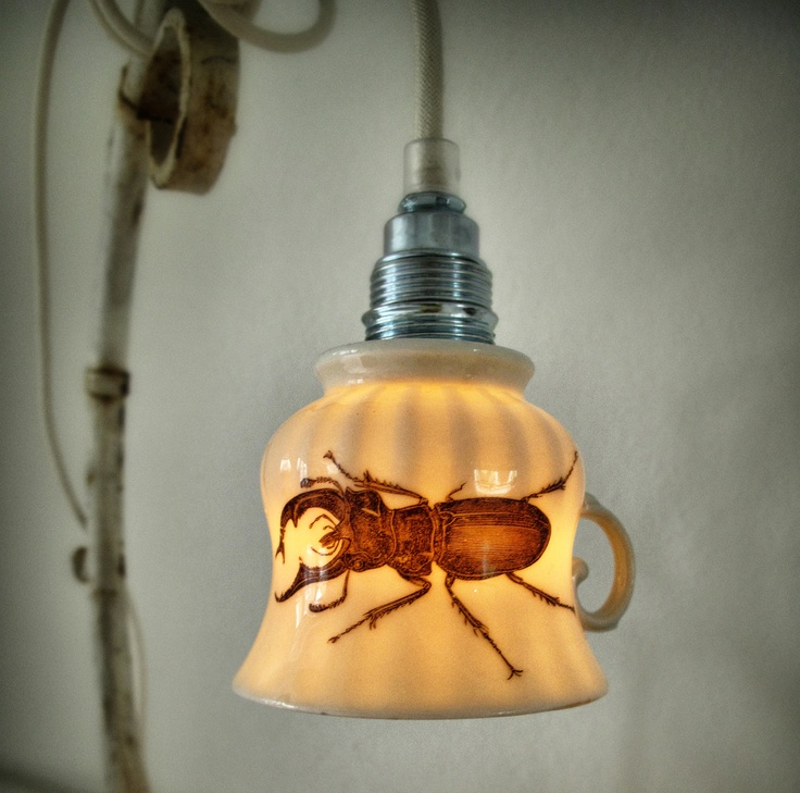 Upcycled big black beetle teacup lamp - cute and scary ;): Lights Lamps Lanterns, Big Black, House Ideas, Beetle Teacup, Upcycled Big