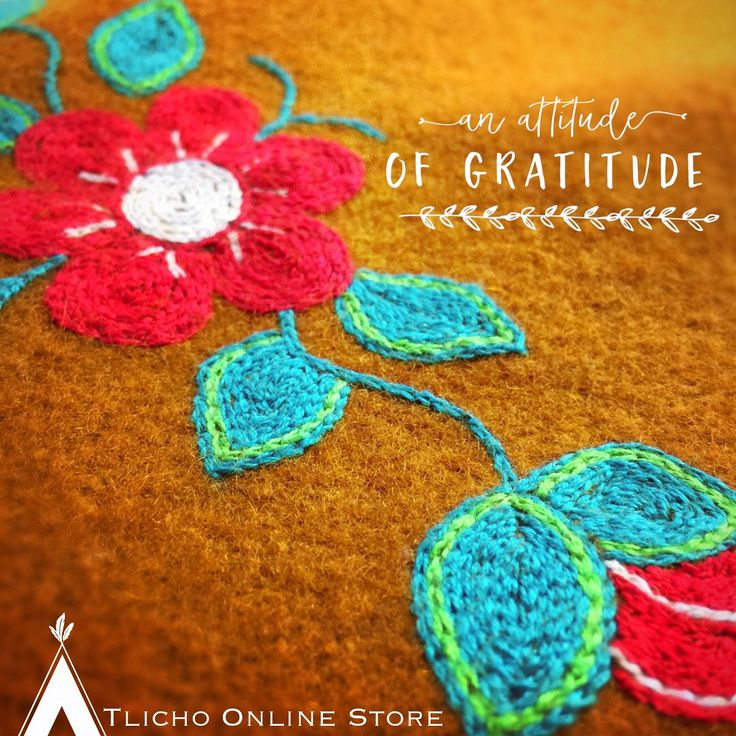 #Gratitude for this #beautiful #embroidered flower made in Whatì. Happy week everyone!