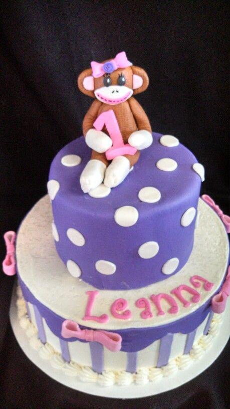 A girly sock monkey cake by christinascakery.com