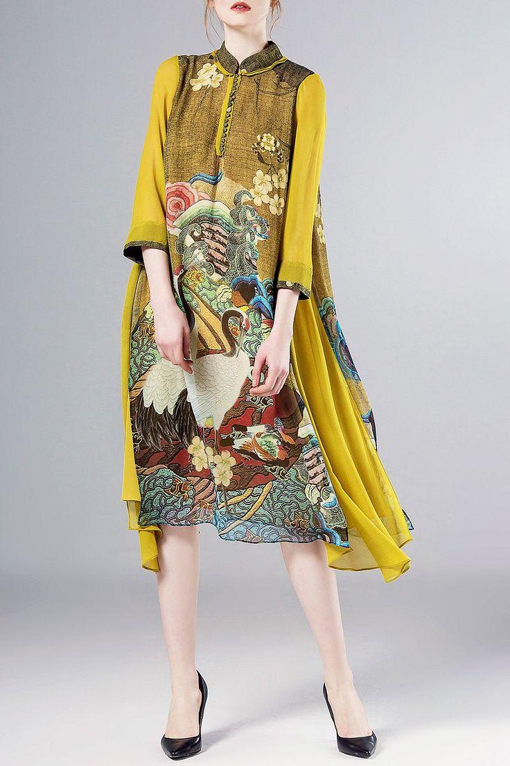 A Line Crane Print Silk Swing Dress