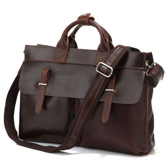 """Vintage Handmade Leather Briefcase / Messenger / 14"""" 15"""" Laptop or 15"""" MacBook Pro Bag"""