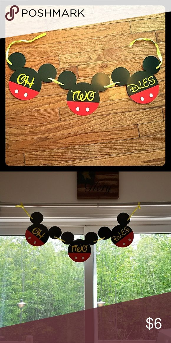 Oh TWO-dles Mickey Mouse banner Mickey Mouse clubhouse oh TWO-dles birthday banner for your 2 year old's birthday party! Super cute! We used it once for his birthday. Non smoking and pet free home. Other