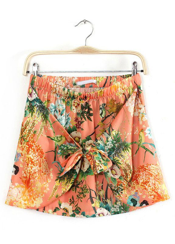 Red Elastic Waist Bow Floral Skirt - Sheinside.com