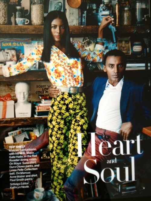 Celebrity chef and humanitarian Marcus Samuelsson and his wife, model Maya Haile in the June issue of VOGUE.