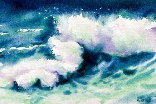 Pas àpas déferlante (accessible) - Aquarelle Marichalar Watercolor