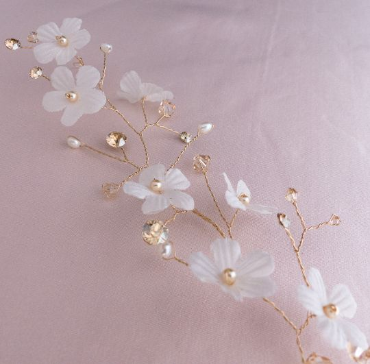 Vigne or avec fleurs, perles et cristaux Swarovski