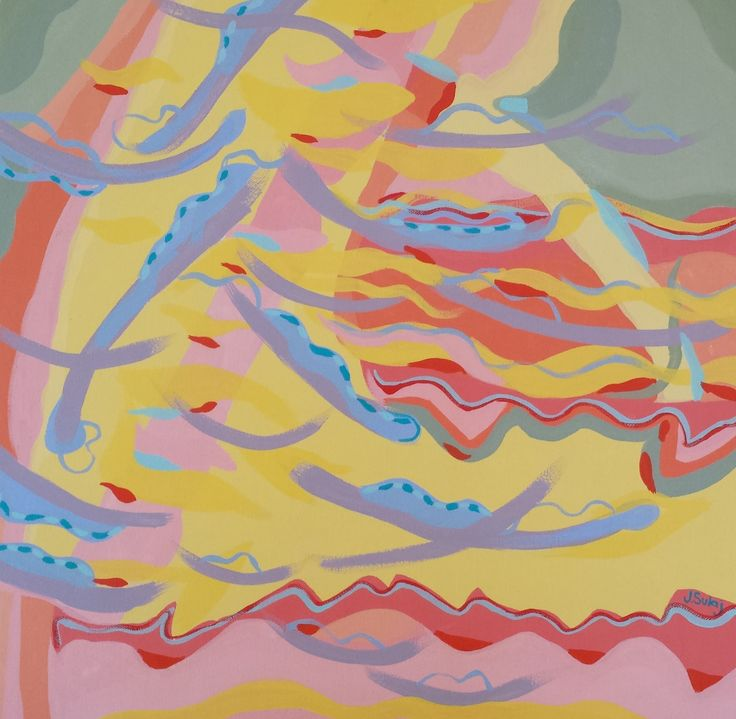 Jennifer Sulaj Happiness Size: 65cm x 65cm Medium: Acrylics on canvas (white frame) Price: $650