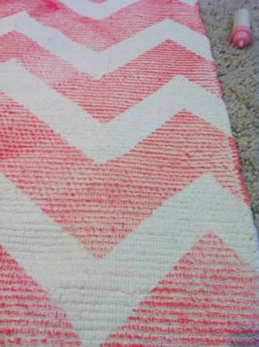 Diy coral chevron rug  Little Green Notebook: Room Tour: Perfectly Pink Bedroom