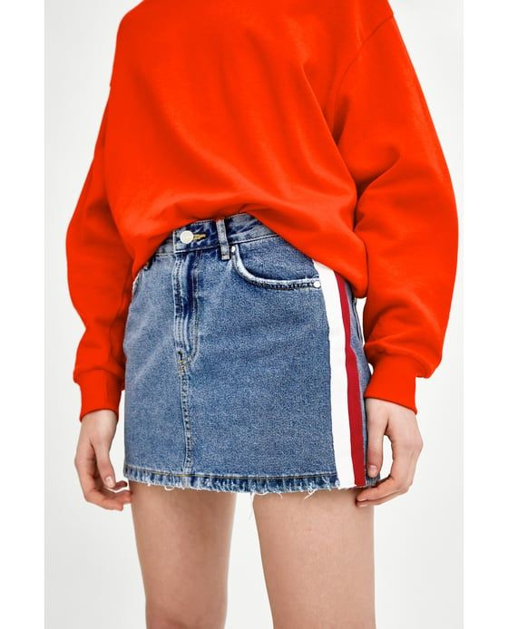 07a48090 Image 2 of MID-RISE DENIM MINI SKIRT WITH SIDE STRIPES from Zara ...