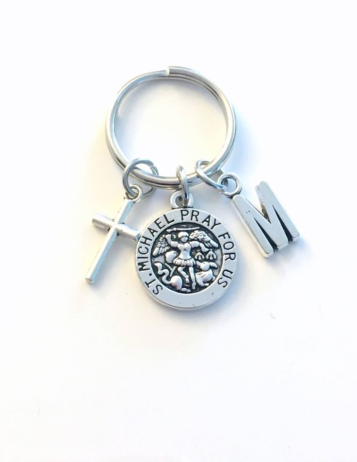 Saint Michael Keychain, Archangel Key Chain, Religious Medallion Keyring, Initial present women Men her him Get Well Sickness Sick gift St by aJoyfulSurprise on Etsy
