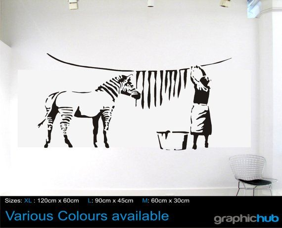 Banksy Wall Art Washing And Hanging The Zebra Stripes Sizes X