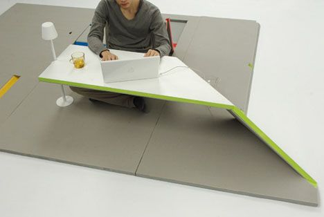 Probably not for everyone, but for kids, this mat would be perfect! You fold up little (or big) sections to make everything from tables, to back rests, to a full desk.