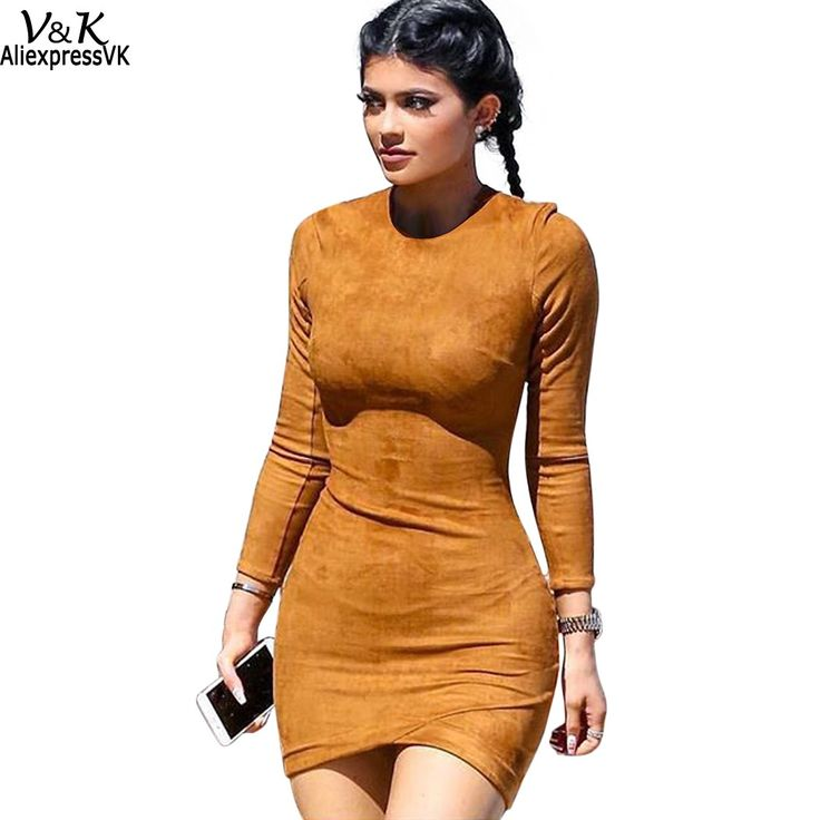 Women Long Sleeve Solid Sheath Dress Sexy Club Brown Vestidos Winter Dresses Skin Tight Faux Suede Bodycon mini Dress 63