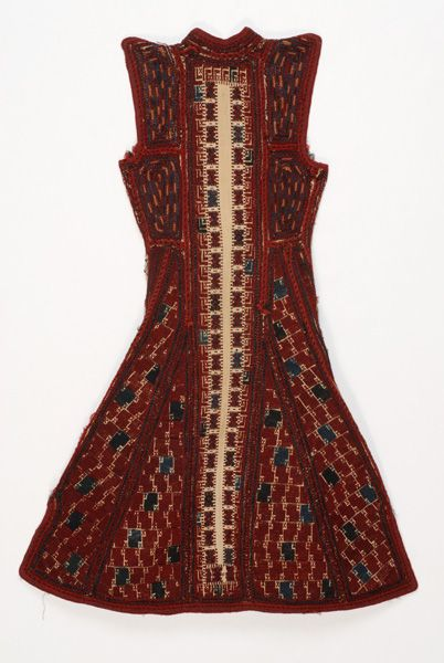 Greece, Macedonia, Grevena, sayias, bridal and festive, summer cotton sleeveless overcoat, cotton, wool, end of 19th c, back