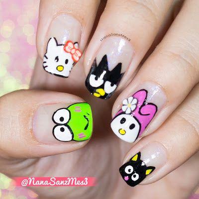 Sanrio Town Characters! ❤♫ by @nanasanzmes3 #nailart #nails #sariotown #hellokitty #keroppi #melody #cute #girly