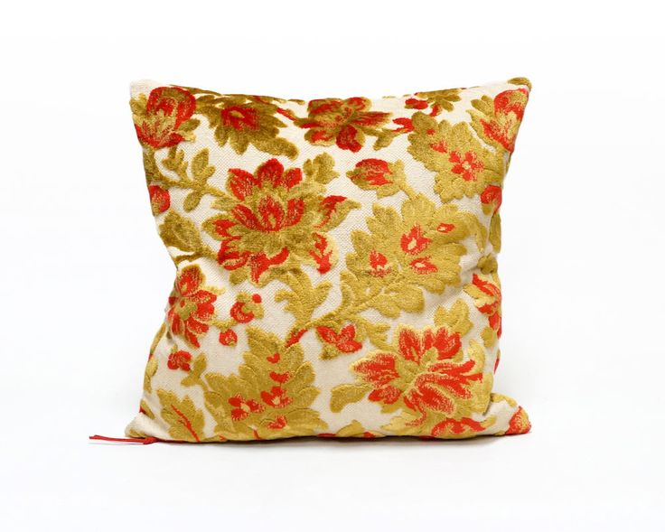 Sofa Sleeper Floral Pillow Case Red Velvet Pillow Vintage fabric cushion cover velvet throw pillow luxury decorative couch pillow by EllaOsix by EllaOsix on Etsy