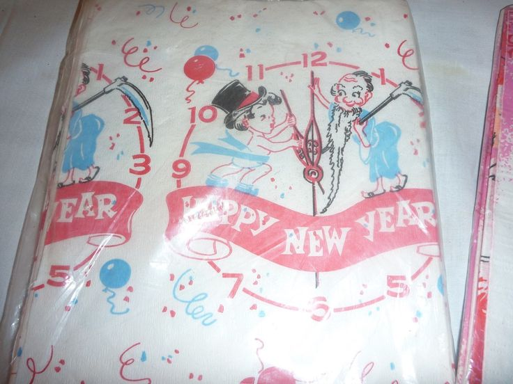 PR Vintage Mid Century Paper Holiday Tablecloth New Years Christmas Retro | eBay