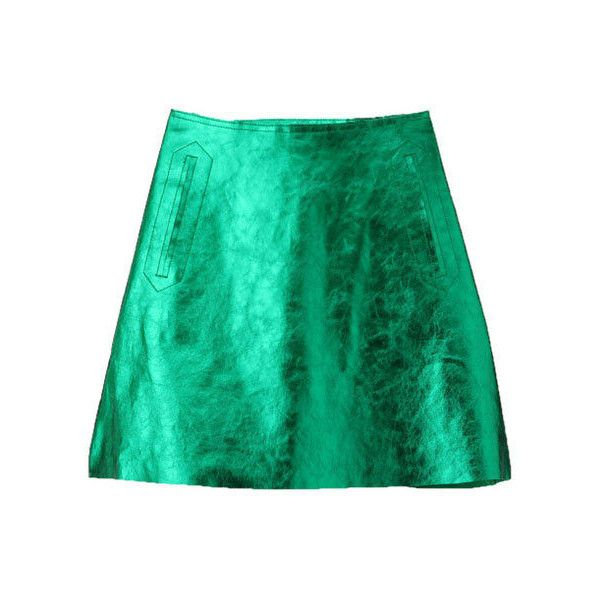LEATHER KIT SKIRT (€230) ❤ liked on Polyvore featuring skirts, bottoms, green, saias, women, chris benz skirt, green skirt and chris benz
