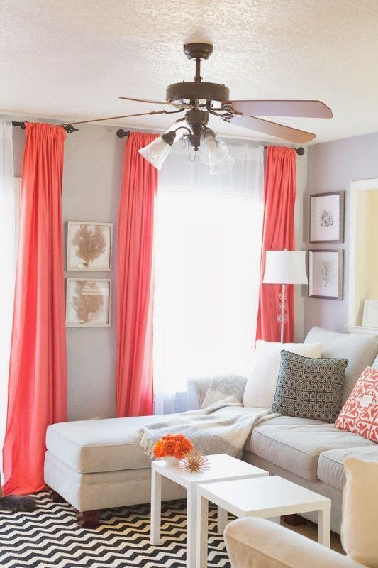 Sheets For Drapes Pop Of Coral Living Room Home Decor And