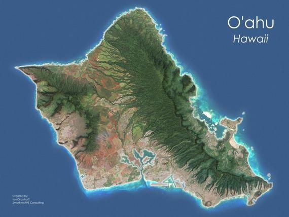 Check Out This Item In My Etsy Shop Https Www Etsy Com Listing 581925116 Oahu Satellite Map Photo Print Hawaii Satellite Art Satellite Image Image
