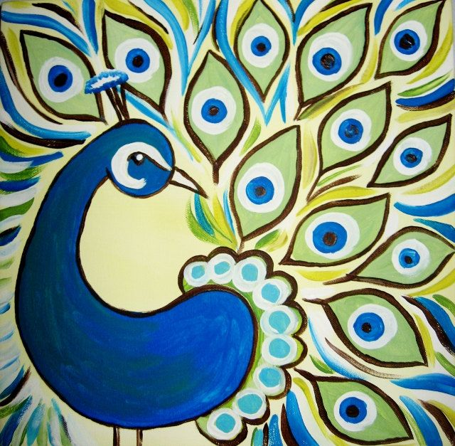 peacock original acrylic painting