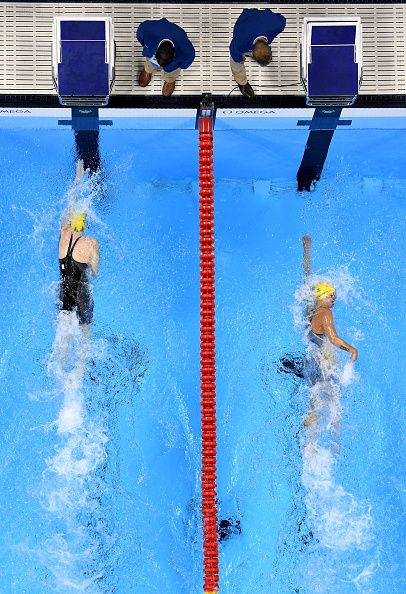 #RIO2016 Cate Campbell of Australia and Sarah Sjostrom of Sweden compete in the second Semifinal of the Women's 100m Freestyle on Day 5 of the Rio 2016 Olympic...