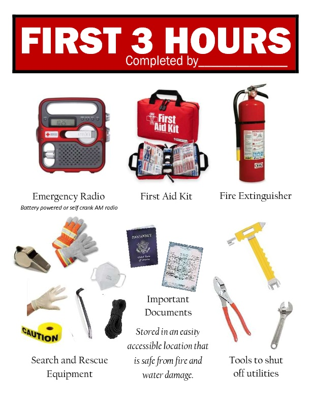 1sr 3 Hrs. Preparedness Items needed incase of disaster or ...