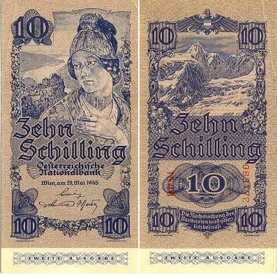 austrian money | 10 Schilling 29.5.1945 (woman, mountains) [ Obverse & Reverse ]