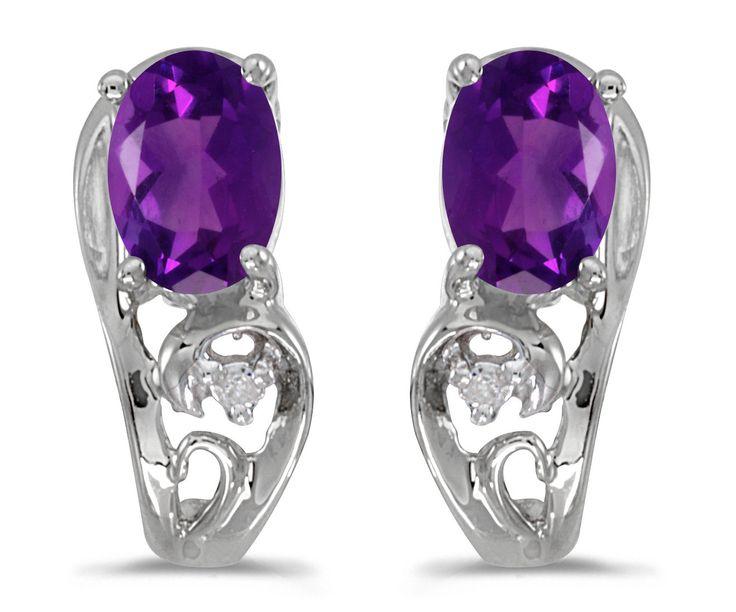 10k White Gold Oval Amethyst And Diamond Earrings