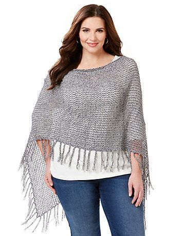 Our latest poncho features marled yarn twisted into an open weave for a nautical-inspired look that completes any outfit. Finished with a braided fringe trim, it's versatile enough to dress up or down and the open styling lets you drape it different ways for multiple looks. V-neckline. catherines.com