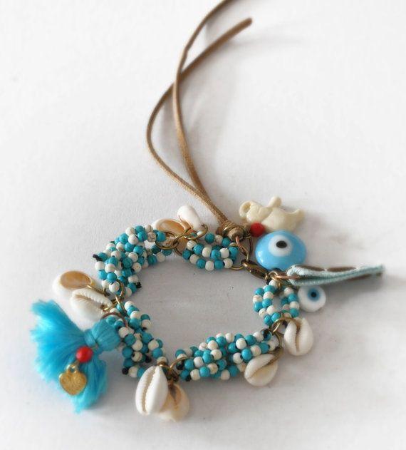 Chunky Beaded Bracelet  Ethnic Gemstone by stellacreations on Etsy