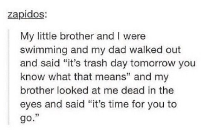 Haha! Gotta love those little brothers...