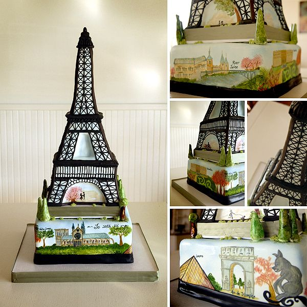 Eiffel Tower Cakes Are an Eyeful of Deliciousness - Blushing Blog via Maxie B's Bakery
