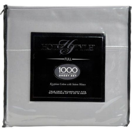 Hotel Style 1000-Thread-Count Egyptian Cotton Sheet Set, Silver