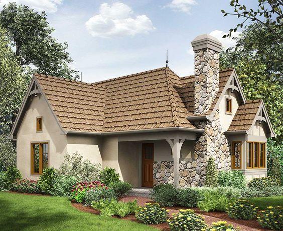 Plan 69593AM: 2 Bed Tiny Cottage House Plan. 782 sq ft. Basement plan
