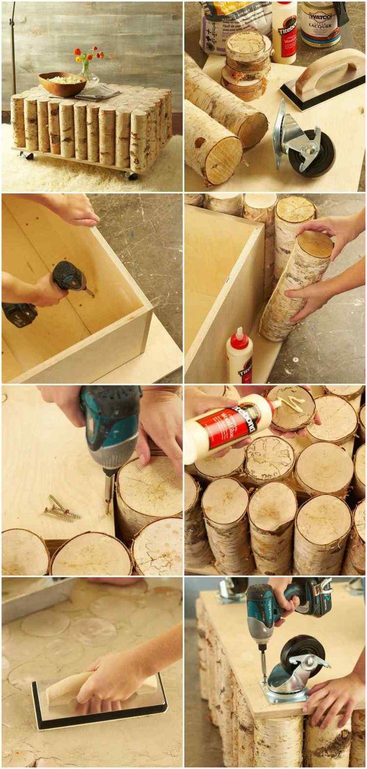 table basse en contreplaqué et troncs de bouleau - comment la fabriquer étape par étape