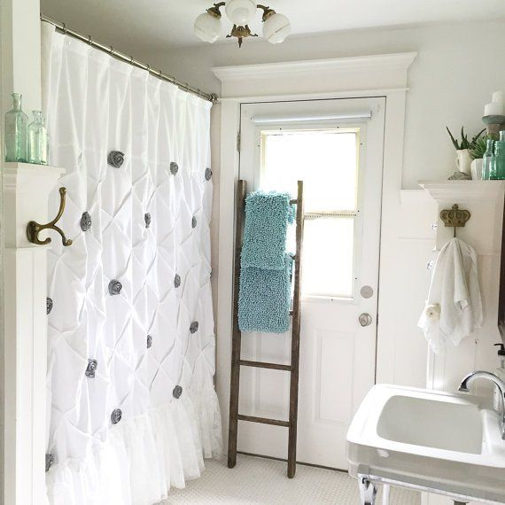Make your bathroom feel inviting and luxurious with this beautiful handmade shower curtain. Lace ruffle on a white cotton pintuck gives a shabby chic style. I added grey rosettes with inlaid pearls be