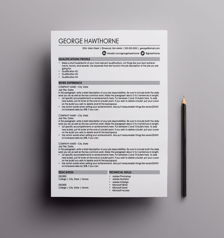 Resume Template The George resume design