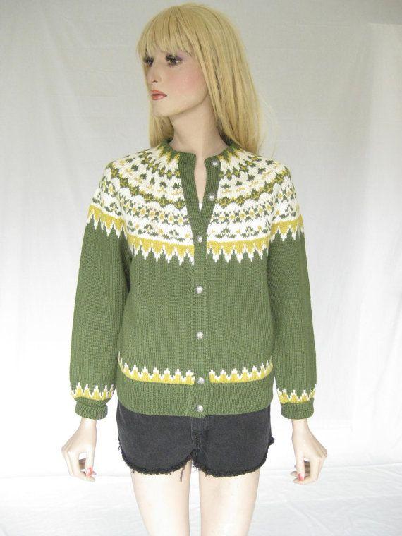 Vintage 50s Norwegian Fair Isle Nordic Ski  Cardigan Sweater