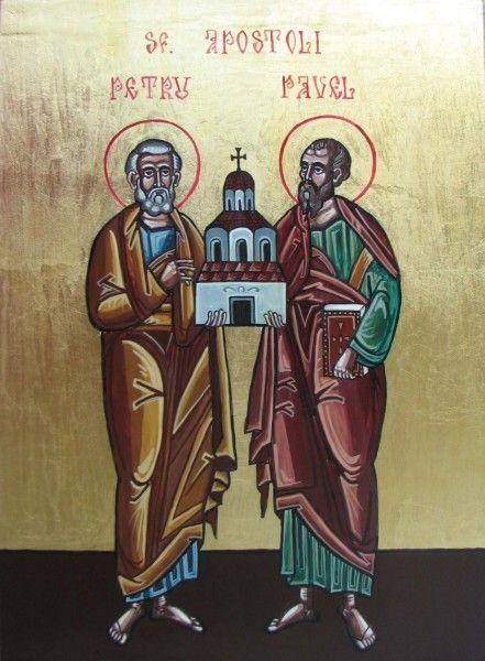 In imagine: SF. APOSTOLI PETRU SI PAVEL, 2008,tempera pe lemn, 29 x 21 cm, daruita spre inchinare la Biserica Sf. Mercurie,Bucuresti, autor:Claudiu Victor Gheorghiu .