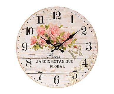 Reloj de pared en madera Rosas, beige natural - Ø34 cm