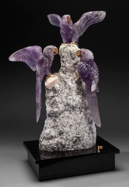 Lapidary Art:Carvings, IMPRESSIVE TRIO OF AMETHYST MACAWS on IMPOSING ALBITE BASE.Artist: Peter Müller. Stone Source: Brazil &Worldwide... (Total: 5 Items) Image #2