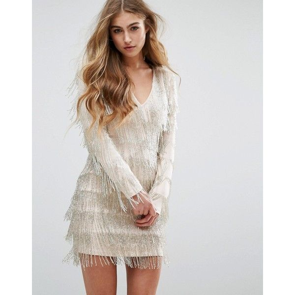 Missguided Peace + Love Embellished Fringe Mini Dress (183 CAD) ❤ liked on Polyvore featuring dresses, silver, bodycon cocktail dress, long sleeve bodycon dress, long sleeve cocktail dresses, short beaded dress and body con dress