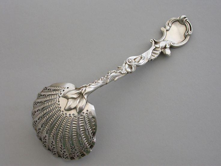 Victorian Cast Silver Rococo Pattern Sugar Sifter Ladle
