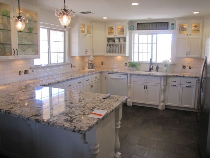 Blanco antico granite with white cabinets and slate floors for Slate kitchen floors with white cabinets