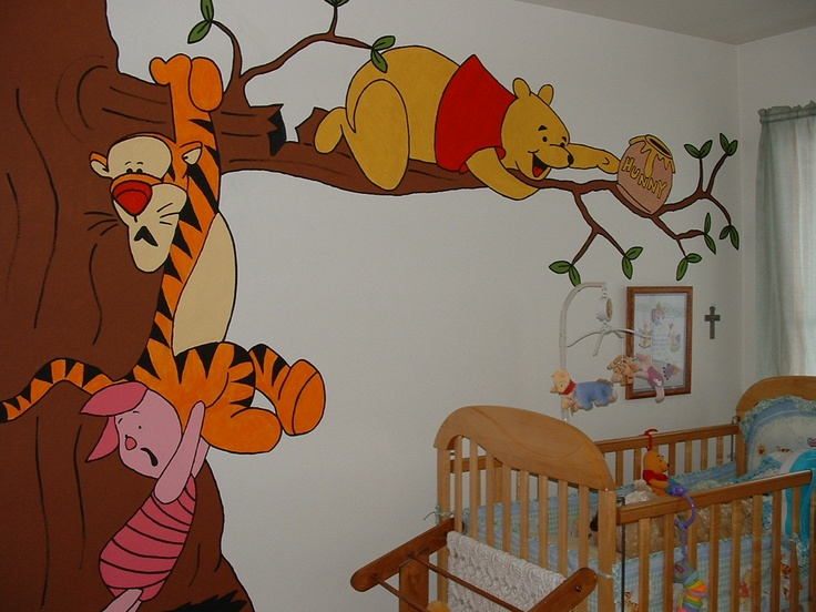 This Is The Mural I Painted To Overlook Crib In Baby S Bedroom Pooh On Branch That About Break And Piglet Tigger Trying Save