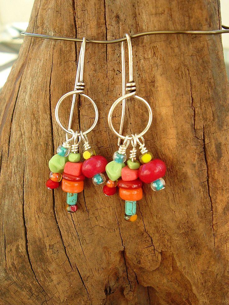 Boho Multi Color Earrings, Colorful Earrings, Sterling Silver Earrings, Bohemian Earrings, via Etsy.